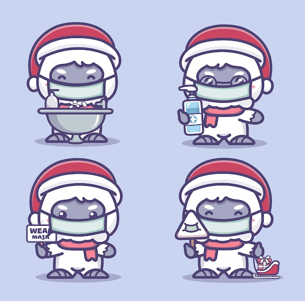 Urocze yeti noszą maskę medyczną, myją ręce i używają środka odkażającego do rąk, aby chronić koronawirusa covid-1. nowa normalna koncepcja świąteczna