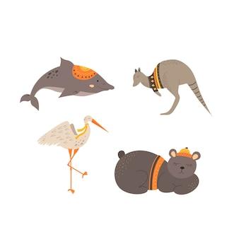 Urocze zwierzaki w stylu skandynawskim. rysunek odręczny