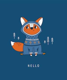 Uroczego lisa zwierzęcy dziecko w lesie. dziecinna postać zwierząt
