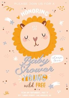 Uroczy baby shower w skandynawskim stylu, w tym modne cytaty i fajne zwierzęce ręcznie rysowane elementy dekoracyjne. kreskówka doodle dla dzieci ilustracja do wystroju pokoju dziecięcego, projekt dzieci. .