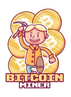 Uroczy charakter trzyma kilof. górnik bitcoinów z charakterem.