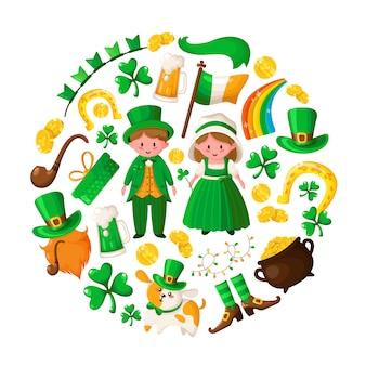 Uroczy chłopiec i dziewczynka w saint patricks day w zielonych strojach retro, kreskówka koniczyna, krasnoludek, garnek złotych monet, fajka