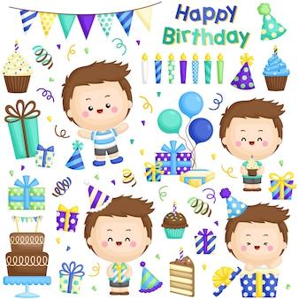 Uroczy chłopiec urodzinowy