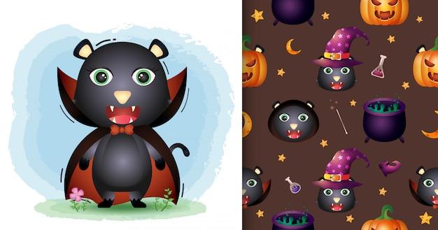 Uroczy czarny kot z kolekcją postaci halloweenowych kostiumów draculi. bez szwu wzorów i ilustracji