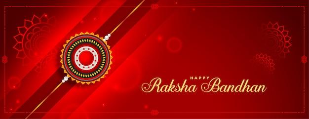 Uroczy czerwony błyszczący baner raksha bandhan