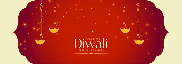 Uroczy czerwony celebracja szczęśliwy indyjski diwali banner