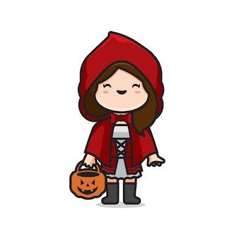 Uroczy czerwony kostium halloweenowy kaptur