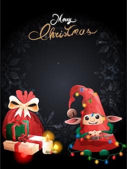 Uroczy elf największy prezent błogosławieństwa wigilijne.