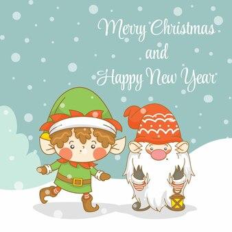 Uroczy gnom i elf z banerem powitalnym świąt i nowego roku