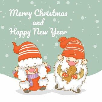 Uroczy gnom z banerem z życzeniami świątecznymi i noworocznymi