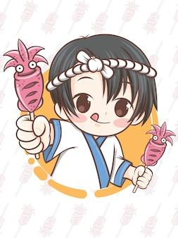 Uroczy japoński szef kuchni prezentujący jedzenie kalmarów z grilla, ikayaki - postać z kreskówki.