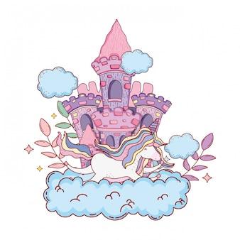 Uroczy jednorożec z chmury i zamek