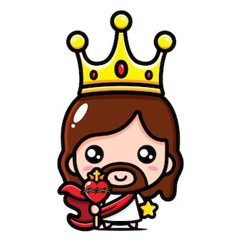 Uroczy jezus chrystus w koronie króla