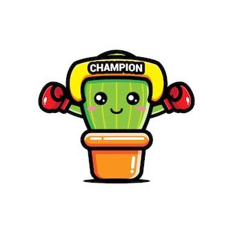 Uroczy kaktus jest mistrzem boksu