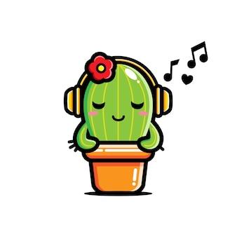 Uroczy kaktus słucha muzyki