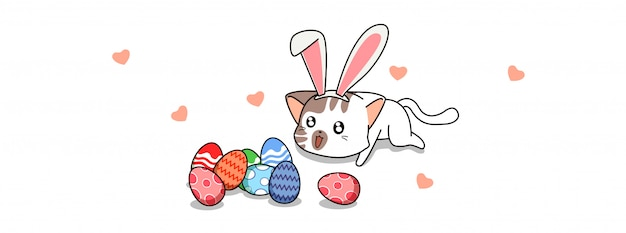 Uroczy kot i jajka na dzień pisanki