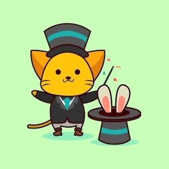 Uroczy kot magik robi magiczną sztuczkę z królikiem w kapeluszu