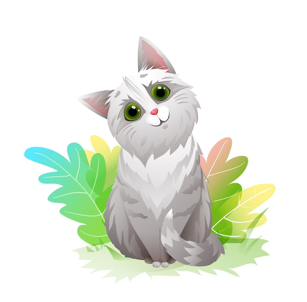 Uroczy kot z dużymi oczami w przyrodzie, zabawny i puszysty kotek z zielonymi liśćmi maskotką. ładny kot ilustracja kreskówka.