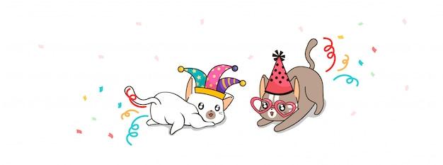 Uroczy koty w galanteryjnej festiwal ilustraci