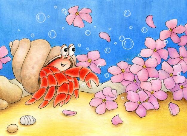 Uroczy krab pustelnik na dnie morskim podziwiający wiele pięknych różowych kwiatów i uśmiechnięty