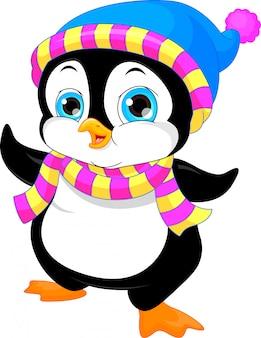 Uroczy kreskówka macha pingwinem