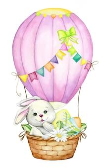 Uroczy królik, w balonie na gorące powietrze, z pisankami i kwiatami. akwarela koncepcja na święta wielkanocne.
