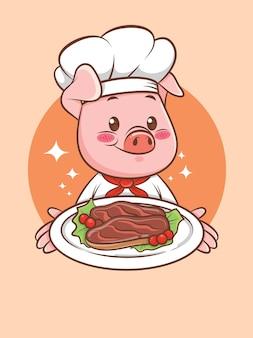 Uroczy kucharz wieprzowy prezentuje stek wieprzowy z grilla. postać z kreskówki i ilustracja maskotka.