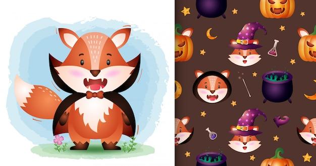 Uroczy lis z kolekcją postaci halloweenowych kostiumów draculi. bez szwu wzorów i ilustracji