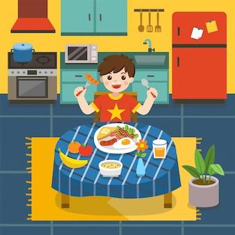 Uroczy mały chłopiec je śniadanie w kuchni. śmieje się, siedząc przy stole w pobliżu talerza śniadania. ilustracja.