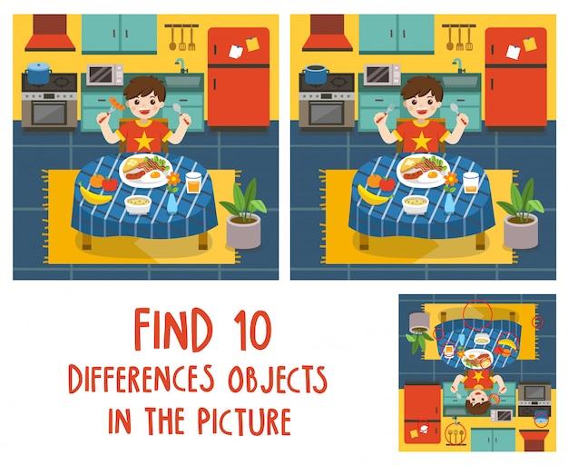 Uroczy mały chłopiec je śniadanie w kuchni. znajdź 10 obiektów różnic na obrazie. gra edukacyjna dla dzieci.