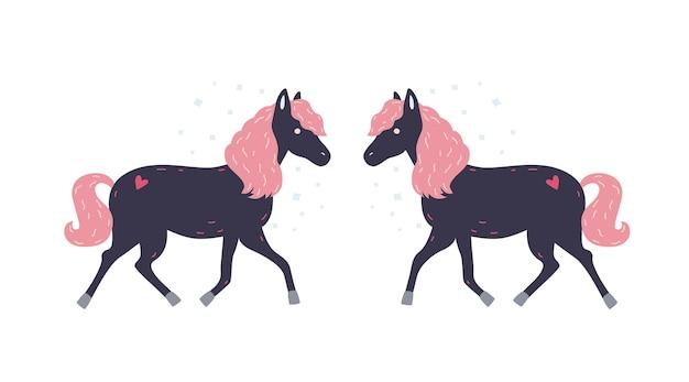 Uroczy mały czarny konik z różową grzywą i jej symetrycznym odbiciem. śliczny magiczny kucyk z bajki