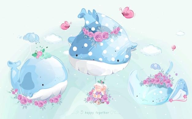 Uroczy mały wieloryb w kolorowym stylu przypominającym akwarele.
