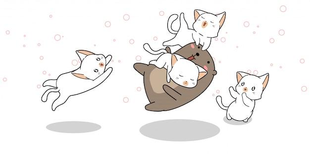 Uroczy miś bawi się z kotami w stylu kreskówkowym