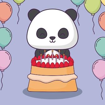Uroczy miś panda z tort urodzinowy i ozdobne balony