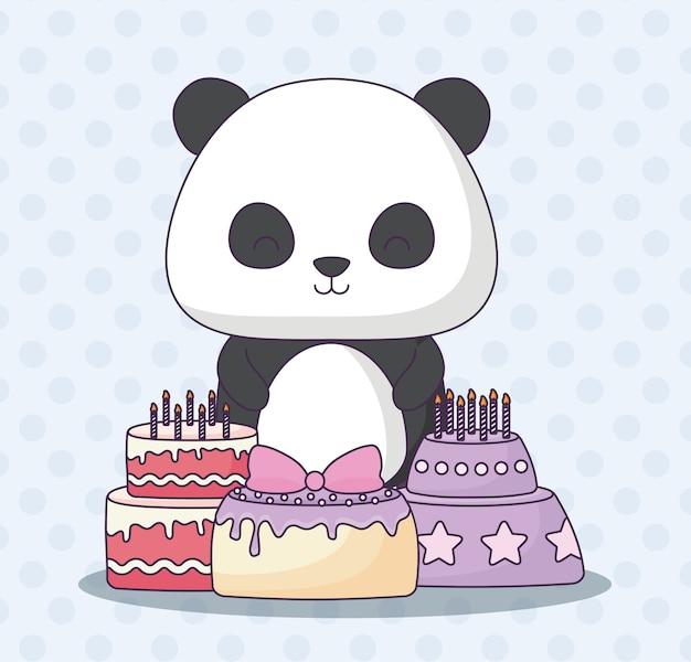 Uroczy miś panda z tort urodzinowy