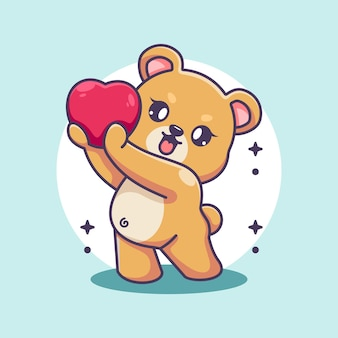 Uroczy niedźwiedź daje kreskówki serca