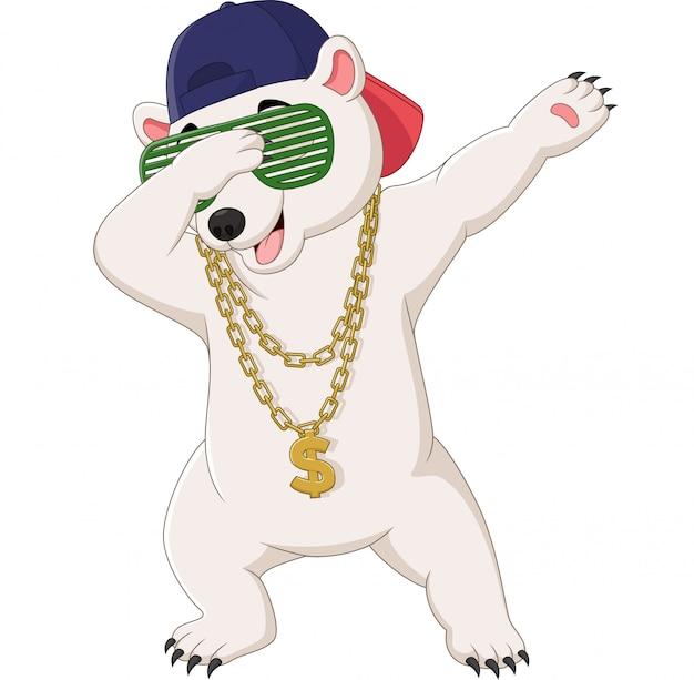 Uroczy niedźwiedź polarny tańczący w okularach przeciwsłonecznych, kapeluszu i złotym naszyjniku