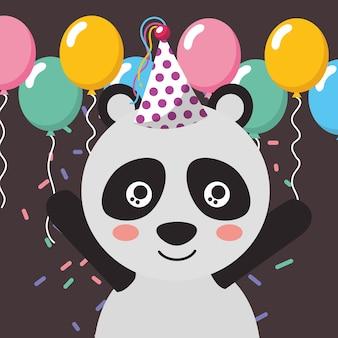 Uroczy panda balony konfetti wszystkiego najlepszego z okazji urodzin kartkę z życzeniami
