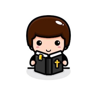 Uroczy pastor czytający biblię