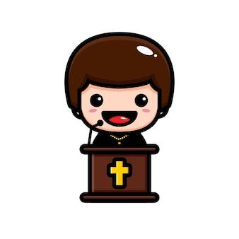 Uroczy pastor wygłaszający przemówienie
