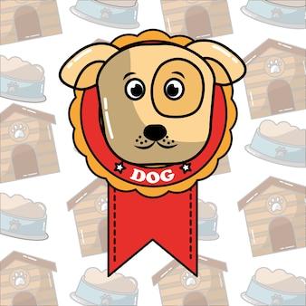 Uroczy pies twarz w nagrodę medal rozeta