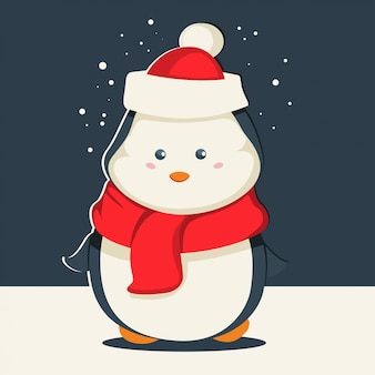 Uroczy pingwin bożonarodzeniowy w czapce mikołaja i czerwonym szaliku. postać z kreskówki wektor zwierzę. zimowa ilustracja