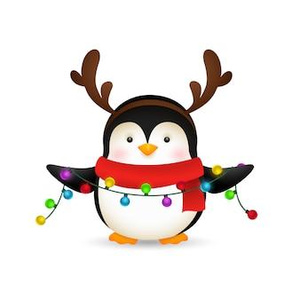 Uroczy pingwin świętuje boże narodzenie