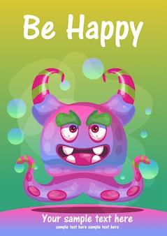 Uroczy potwór być szczęśliwym kartka z pozdrowieniami