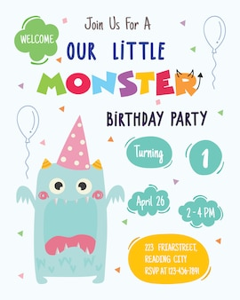 Uroczy potwór szczęśliwy urodziny strony projekt karty zaproszenie. wektor