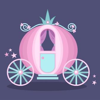 Uroczy różowy wózek księżniczki kopciuszka z kwiatową dekoracją i gwiezdnym pyłem.
