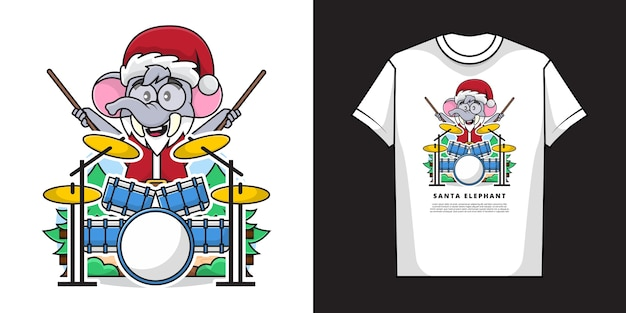 Uroczy słoń w kostiumie świętego mikołaja grając na perkusji z makietą koszulki