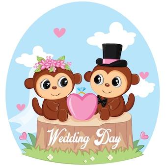 Uroczy ślub dzień małpy