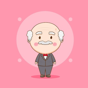 Uroczy staruszek w formalnym garniturze chibi chracter ilustracji