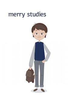 Uroczy stojący chłopiec w szkole z brązowymi włosami i tornistrem w dłoni w szarych dżinsach i niebieskiej kamizelce. ilustracja kreskówka. pojedynczo na białym tle